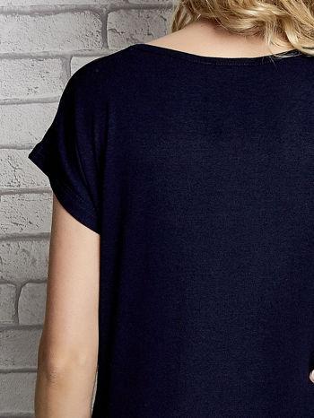 Granatowy t-shirt z napisem YOU ARE STAR IN MY HEART z dżetami                                  zdj.                                  6