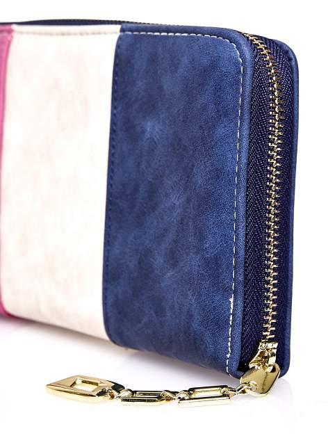 Granatowy trójkolorowy portfel z uchwytem                                  zdj.                                  4