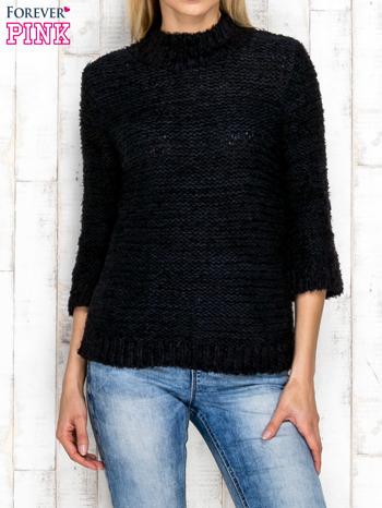 Granatowy wełniany sweter z dłuższym włosem                              zdj.                              1