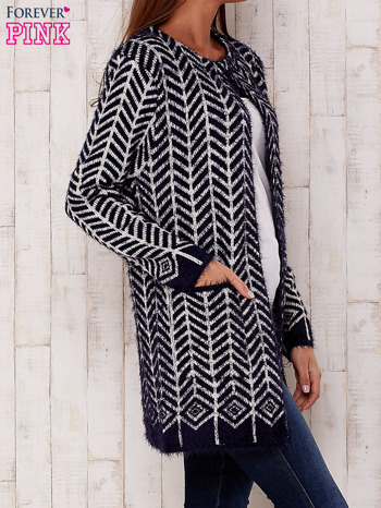 Granatowy wełniany sweter z kieszeniami                                  zdj.                                  3