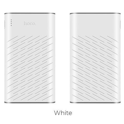 """HOCO B31 Powerbank """"REGE""""o mocy 20000 mAh z podwójnym USB 5V2.1A i diodą LED 330g Kolor biało-szary.                              zdj.                              1"""