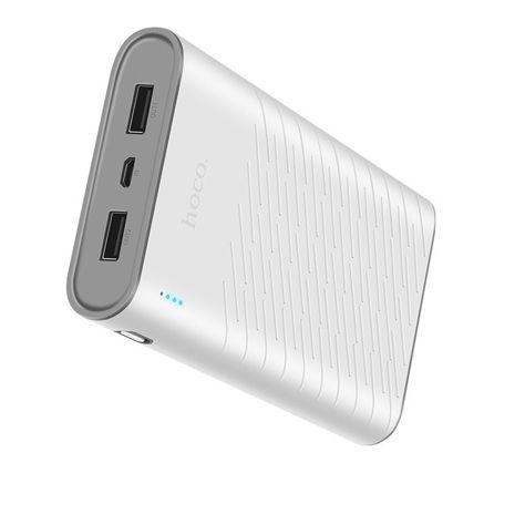 """HOCO B31 Powerbank """"REGE""""o mocy 20000 mAh z podwójnym USB 5V2.1A i diodą LED 330g Kolor biało-szary.                              zdj.                              2"""