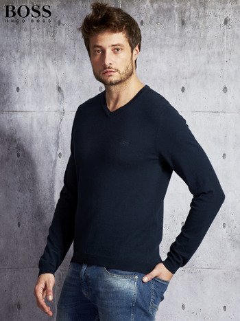 HUGO BOSS Granatowy sweter męski w serek                              zdj.                              5