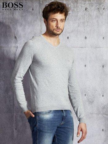 HUGO BOSS Szary sweter męski w serek                                  zdj.                                  3