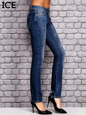 ICEBERG Ciemnoniebieskie spodnie jeansowe z przetarciami                                  zdj.                                  2