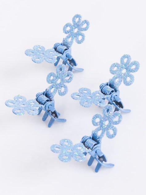 INCA Błękitna spinka do włosów z brokatem typu motylek