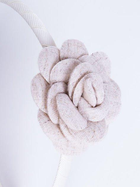 INCA Opaska do włosów ecru z ozdobną różą                              zdj.                              1