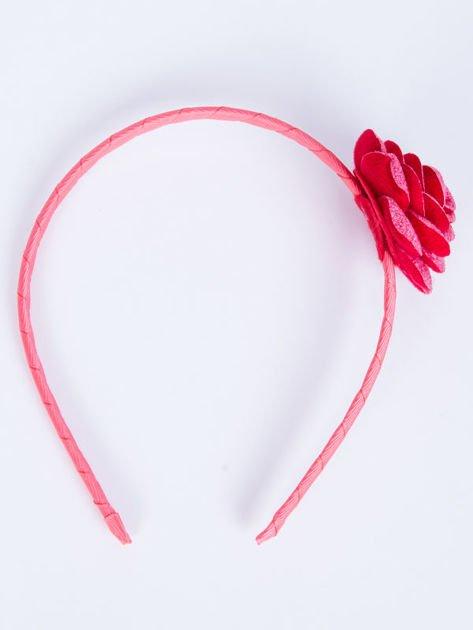 INCA Opaska do włosów malinowa z ozdobną różą                              zdj.                              2