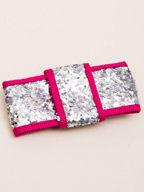 INCA Spinka do włosów krokodylek srebrno-różowa kokarda glitter