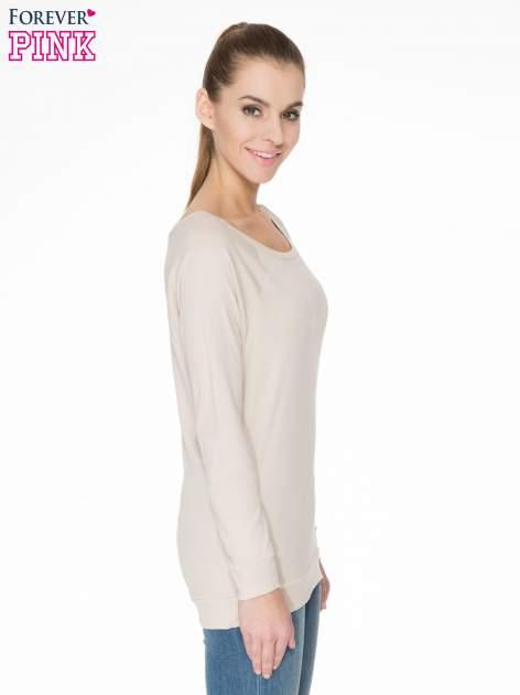 Jasnobeżowa bawełniana bluzka z rękawami typu reglan                                  zdj.                                  3