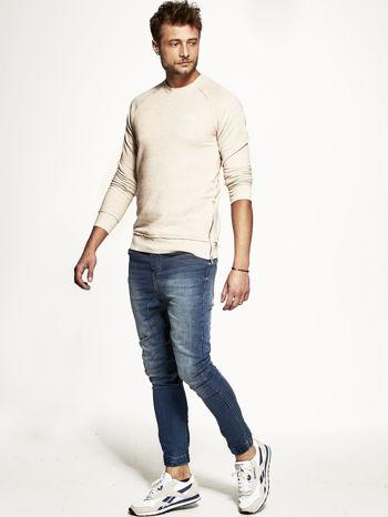 Jasnobeżowa bluza męska z suwakami                                  zdj.                                  2
