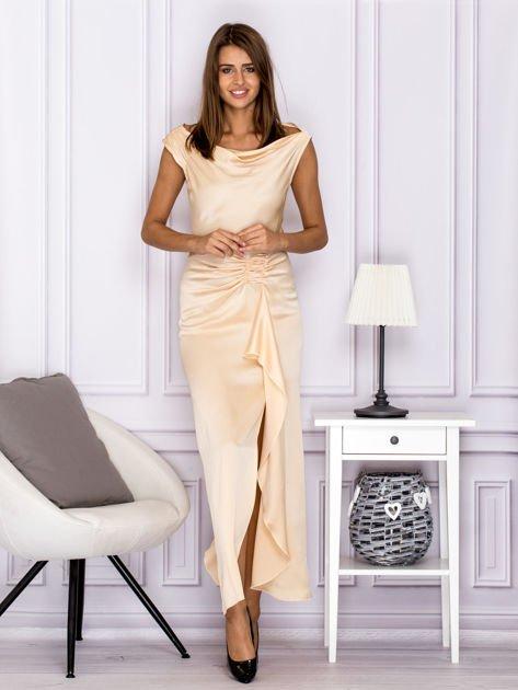Jasnobeżowa długa sukienka z drapowaniami                              zdj.                              1