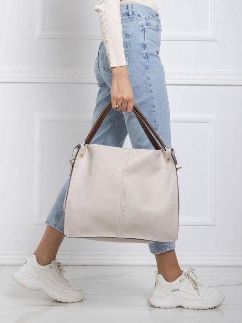 Jasnobeżowa duża torba city bag