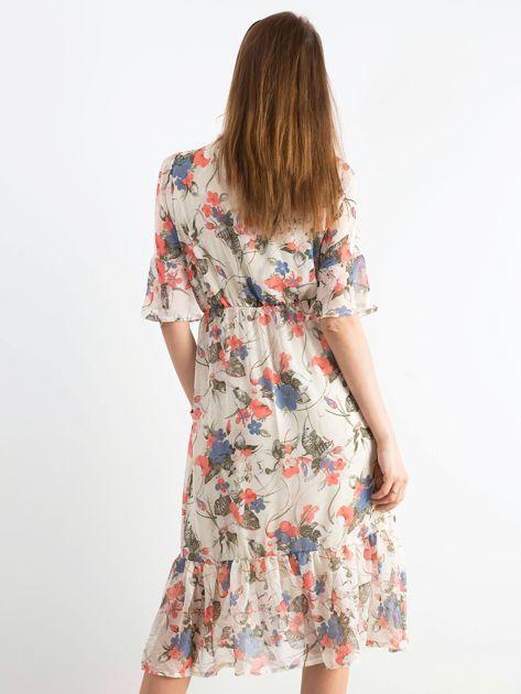 Jasnobeżowa kwiatowa sukienka                              zdj.                              2
