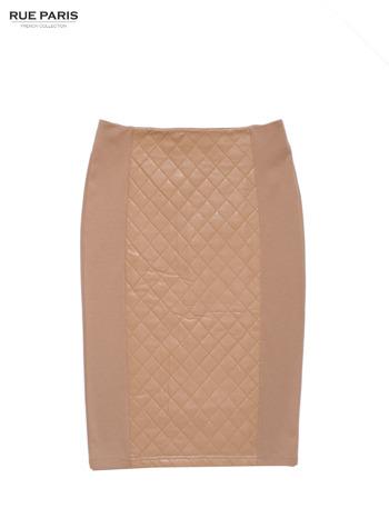 Jasnobeżowa spódnica z pikowaną wstawką                                  zdj.                                  3