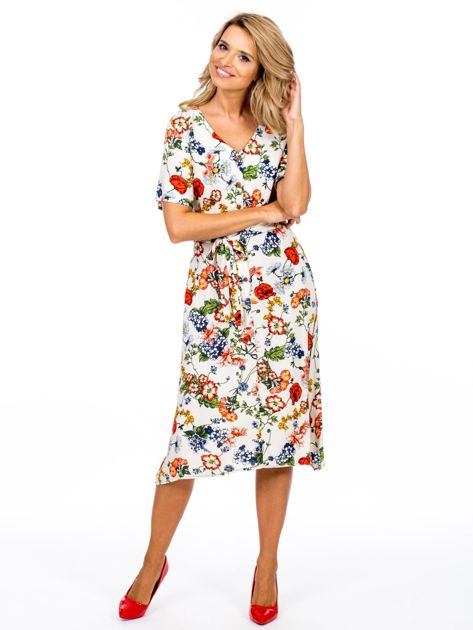 Jasnobeżowa sukienka w kolorowe kwiaty                              zdj.                              4