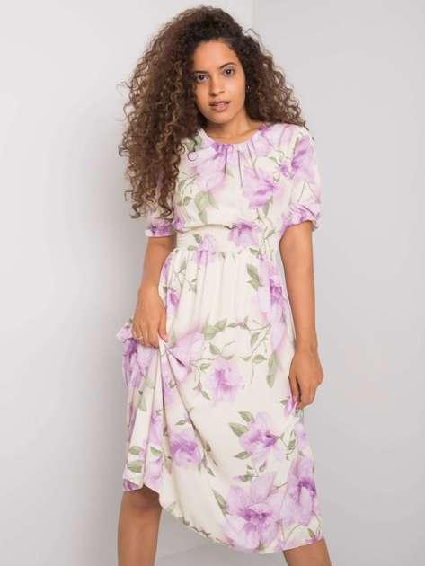 Jasnobeżowa sukienka w kwiaty Yael