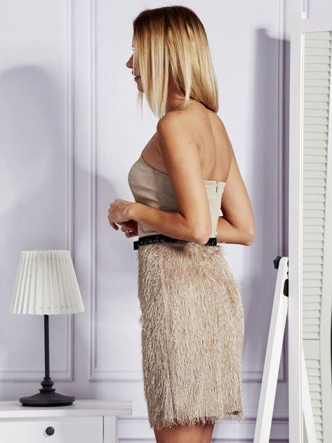 Jasnobeżowa sukienka z frędzelkami                                   zdj.                                  5