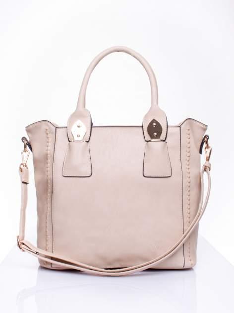 Jasnobeżowa torba shopper ze stębnowaniem                                  zdj.                                  1