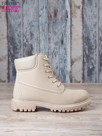 Jasnobeżowe jednolite buty trekkingowe damskie traperki ocieplane