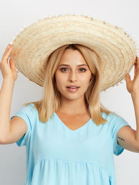 Jasnobeżowe plecione sombrero                              zdj.                              1