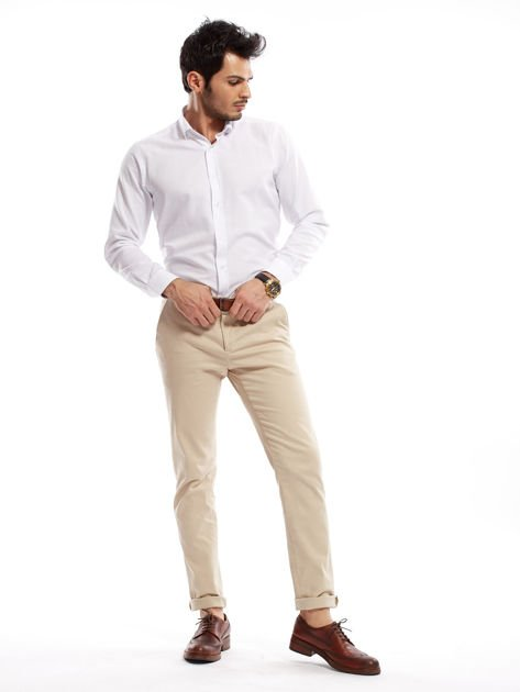 Jasnobeżowe spodnie męskie chinosy o prostym kroju                                  zdj.                                  14