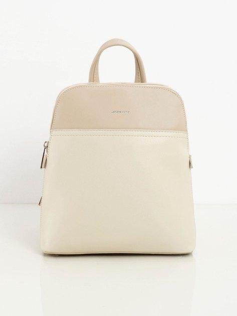 Jasnobeżowy dwukomorowy plecak damski