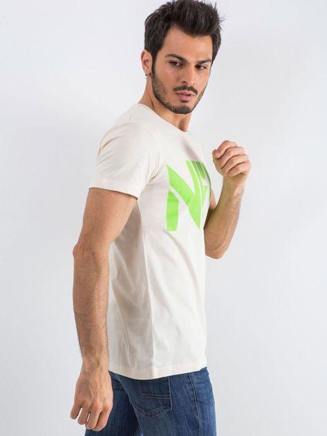 Jasnobeżowy męski t-shirt Public                              zdj.                              2