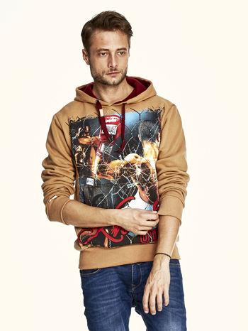 Jasnobrązowa bluza męska z bokserskim nadrukiem                                  zdj.                                  1