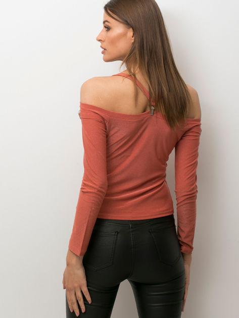 Jasnobrązowa bluzka z ozdobnymi paskami                              zdj.                              2