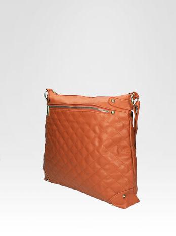 Jasnobrązowa pikowana torebka na ramię                                  zdj.                                  3