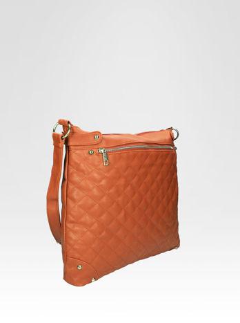 Jasnobrązowa pikowana torebka na ramię                                  zdj.                                  2