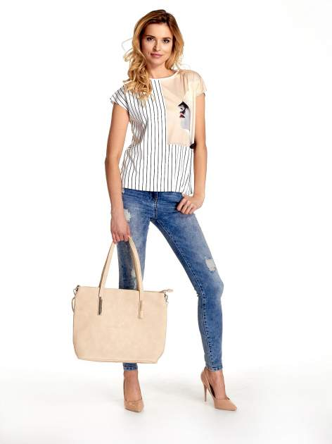 Jasnobrązowa prosta torba shopper bag                                  zdj.                                  2