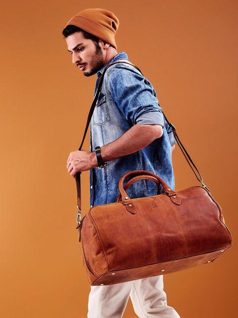 Jasnobrązowa skórzana męska torba podróżna                              zdj.                              5