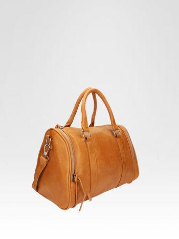 Jasnobrązowa torba bowling z suwakami                                  zdj.                                  2
