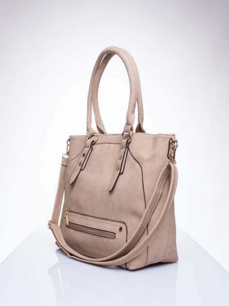 Jasnobrązowa torba shopper bag z suwakiem                                  zdj.                                  2