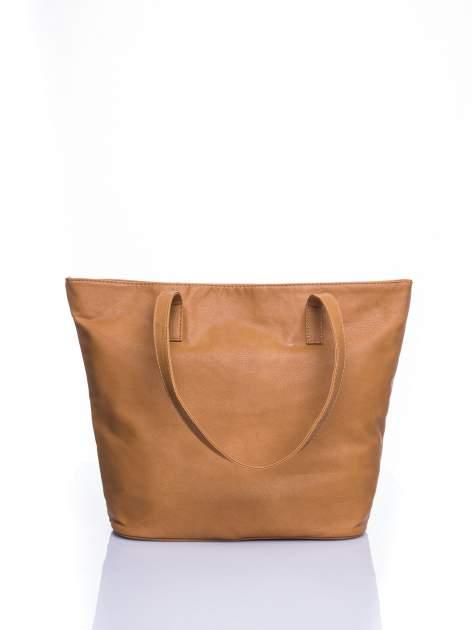 Jasnobrązowa torba ze złotym detalem                                  zdj.                                  3