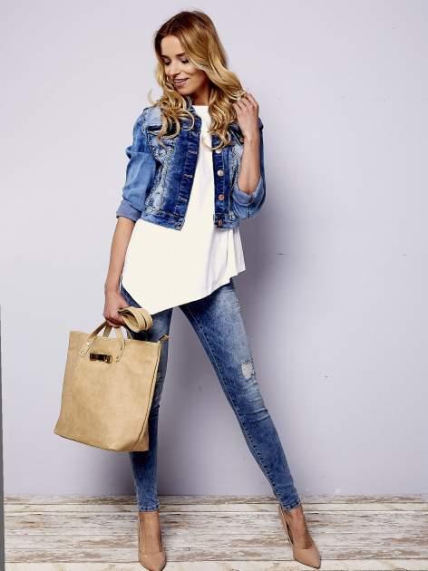 Jasnobrązowa torebka shopper bag z kokardką                                  zdj.                                  2