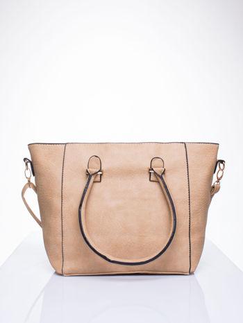 Jasnobrązowa torebka trapezowa z odpinanym paskiem                                  zdj.                                  3