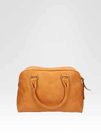 Jasnobrązowa torebka typu miękki kuferek z dodatkowym paskiem                                  zdj.                                  1