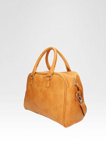 Jasnobrązowa torebka typu miękki kuferek z dodatkowym paskiem                                  zdj.                                  3