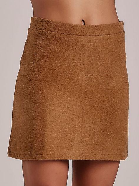 Jasnobrązowa trapezowa spódnica mini