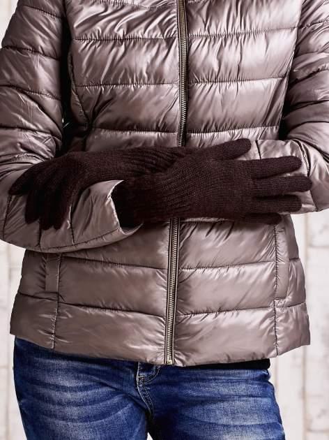 Jasnobrązowe długie rękawiczki z drapowanym rękawem                                  zdj.                                  2