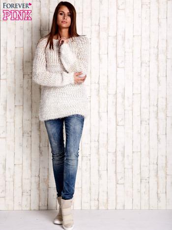 Jasnobrązowy melanżowy sweter long hair                                  zdj.                                  2