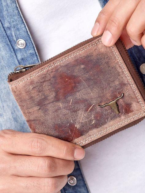 Jasnobrązowy portfel męski na suwak                              zdj.                              1