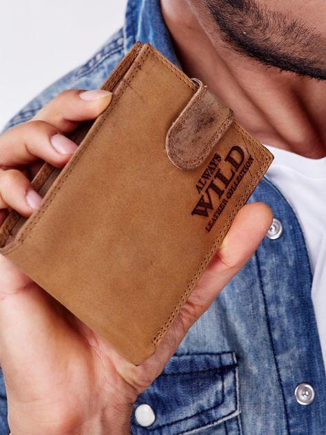 Jasnobrązowy portfel męski ze skóry naturalnej                               zdj.                              1