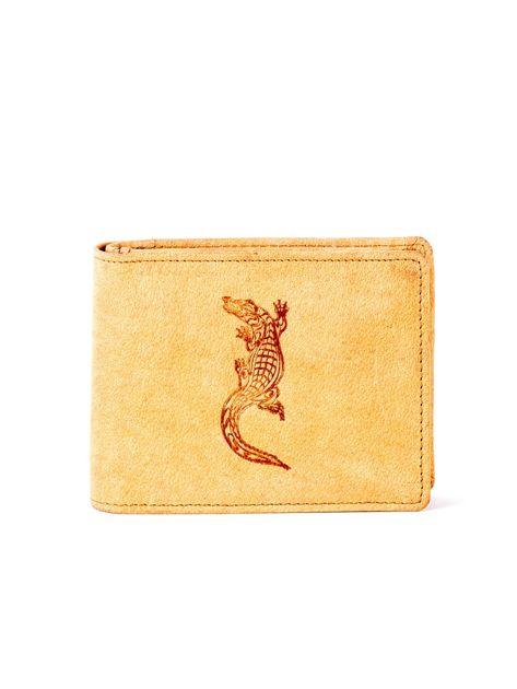 Jasnobrązowy skórzany portfel z tłoczonym krokodylem                              zdj.                              1