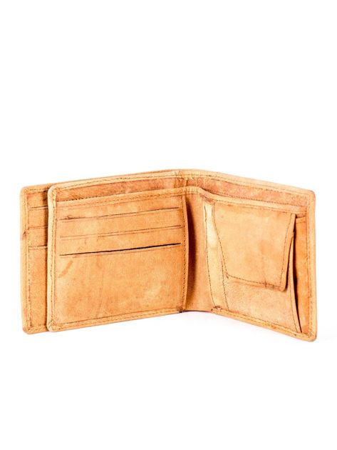 Jasnobrązowy skórzany portfel z tłoczonym krokodylem                              zdj.                              5