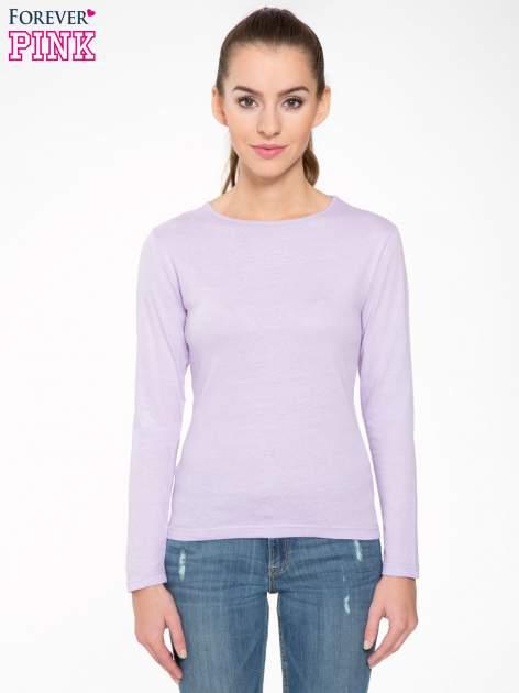 Jasnofioletowa bawełniana bluzka typu basic z długim rękawem