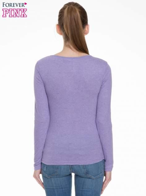 Jasnofioletowa bluzka z długim rękawem z bawełny                                  zdj.                                  4
